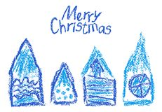 Crayon christmas house set. Like kids hand drawn funny doodle blue design element. Sketch artistic stroke style vector cute hut on white. Pencil or chalk like vector illustration