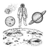 Sketch space icon set, vector ink hand drawn illustration. Sketch astronaut and planet icon set. Vector ink hand drawn illustration isolated on white background Royalty Free Stock Images