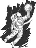 Sketch of Astronaut or Spaceman Grabbing a Star Stock Image
