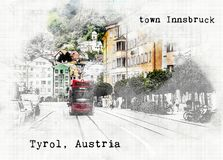 Sketch  of Austrian travel Stock Image