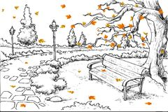 Sketch of Autumn Background Stock Photos