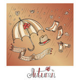 Sketch of autumn clothes and accessories Royalty Free Stock Photography