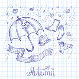 Sketch of autumn clothes and accessories Stock Photo