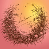 Sketch of autumn frame on colored background Royalty Free Stock Photo