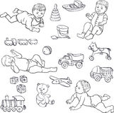 Sketch of babies and toys Stock Photography