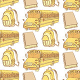 Sketch backpack, book and school bus. Seamless pattern Royalty Free Stock Image