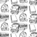 Sketch backpack, book and school bus. Seamless pattern Stock Photos