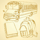 Sketch backpack, book and school bus. Set Stock Images