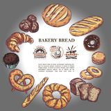 Sketch Bakery Products Round Concept. With bread french baguette croissant pretzel muffin donut bagels and bakehouse badges vector illustration vector illustration