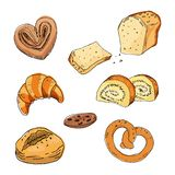 Sketch bakery products on white background. vector illustration