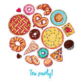 Sketch Bakery Round. With  icon set on pie sweet and dessert themes combined in round vector illustration Royalty Free Stock Image
