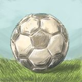 Sketch ball on the football field. Sketch of a ball on a football field under the blue sky with imitation of a drawing by hand painted with watercolor Royalty Free Stock Images