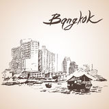 Sketch of Bangkok cityscape. Thailand. Royalty Free Stock Photos