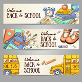 Sketch banner template with school object. Royalty Free Stock Image