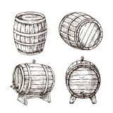 Sketch barrels. Whiskey oak casks. Wooden wine barrel in vintage engraving style. Bar, pub and brewery vector sign. Isolated. Illustration of cask wood, winery royalty free illustration