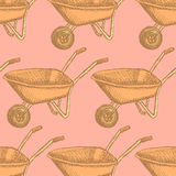 Sketch barrow, vector vintage seamless pattern Stock Photography