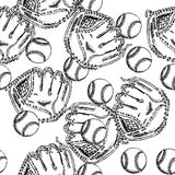 Sketch baseball bal ang glove,  seamless pattern Stock Photos