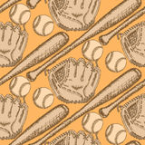 Sketch baseball ball, bat and glove, seamless pattern Royalty Free Stock Photography
