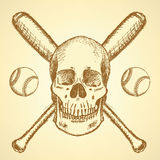 Sketch baseball ball, bat and scull Royalty Free Stock Image
