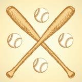 Sketch baseball ball and batl,  background Royalty Free Stock Image