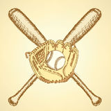 Sketch baseball ball, glove and bat Stock Photography