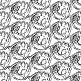 Sketch baseball ball and glove,  seamless pattern Stock Photo