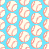 Sketch baseball ball, vector  seamless pattern Royalty Free Stock Images