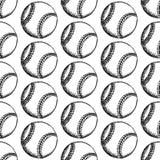 Sketch baseball ball, vector  seamless pattern Stock Photo