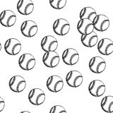 Sketch baseball ball, vector seamless pattern Stock Image