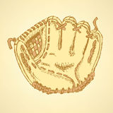 Sketch baseball glove, vector vintage background Stock Images
