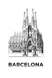 The sketch of Basilica and Expiatory Church of the Holy Family. In Barcelona Stock Photos