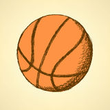 Sketch basketball ball,  vintage background Royalty Free Stock Photography