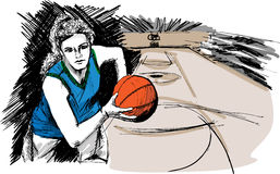 Sketch of Basketball player Stock Image