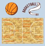 Sketch basketball set with court and ball Royalty Free Stock Images