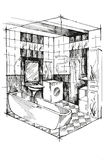 Sketch bathroom interior perspective. Bathroom with sink, washing machine and cupboards. Stock Photo