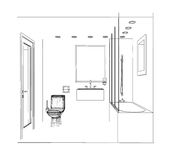 Sketch bathroom Royalty Free Stock Photography