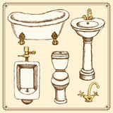 Sketch bathroom and toilet equipment in vintage style Royalty Free Stock Images
