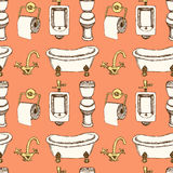 Sketch bathroom and toilet equipment in vintage style Royalty Free Stock Photos