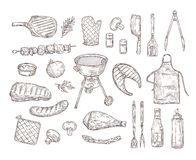 Free Sketch Bbq. Barbeque Doodle Drawing Grill Chicken Sauce Barbecue Grilled Vegetables Fried Steak Meat Roasted Sausages Royalty Free Stock Photography - 144891197