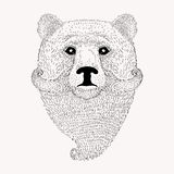 Sketch Bear with a beard and moustache. Hand drawn   illus Royalty Free Stock Photography
