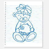 Sketch bear with cake on a notebook Royalty Free Stock Photography