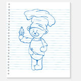 Sketch bear cook on a notebook Royalty Free Stock Images