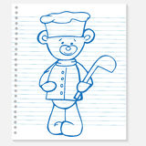 Sketch bear cook on a notebook Stock Photography