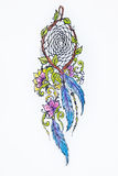 Sketch beautiful dreamcatcher on white background. Royalty Free Stock Image