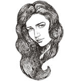 Sketch of beautiful female face Stock Photography