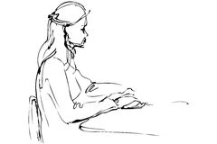 Sketch a beautiful girl is at a table Royalty Free Stock Photography