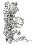Sketch, beautiful graphic floral ornament Royalty Free Stock Photo