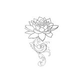 A sketch of beautiful lotuses in a graceful ornament on a white background. Royalty Free Stock Photos