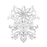 A sketch of beautiful lotuses in a graceful ornament on a white background. Royalty Free Stock Image