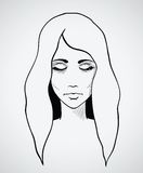 Sketch of a beautiful woman. Hand drawn vector. Illustration. This is file of EPS10 format Royalty Free Stock Photos